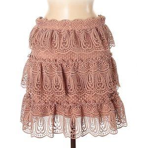 Self-Portrait Skirts - Self-Portrait Pink Rose Lace Tiered Mini Skirt 8